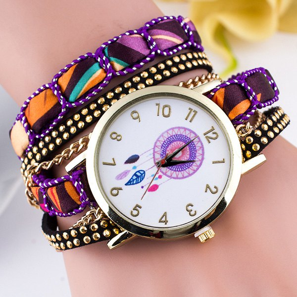 Circle Dial Plate Feather Bracelet Watch