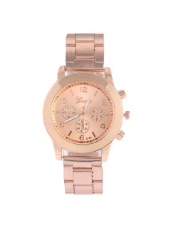 Vintage Steel Band Embellished Quartz Watch - Rose Gold